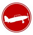 Retro military airplane button vector