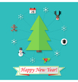 Happy new year card with christmas tree over blue vector