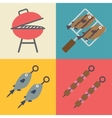 Set of grill icons for outdoor and cooking icons vector