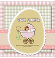 Baby girl announcement card vector