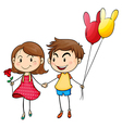 A girl with a flower and a boy with balloons vector