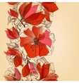 Red flowers seamless pattern in retro style vector