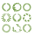 Green wreaths isolated on white background vector