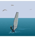 Sportsmen surfer sail in the blue sea vector