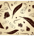 Seamless background handwritten ancient feathers c vector