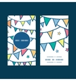 Colorful doodle bunting flags vertical round frame vector