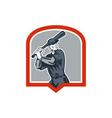 Baseball batter batting woodcut shield vector