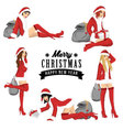 Five sexy girl using santa costume for christmas vector