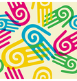 Colorful pattern hands with spiral symbol vector