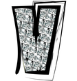 Diamond font letter v vector