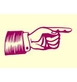 Vintage retro hand with pointing finger vector