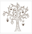 Tree with hearts labels vector