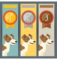 Award vertical banners with dog winning medal vector