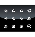 Box icons on black background vector