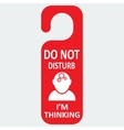 Hotel tag do not disturb with thinking icon vector
