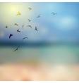Birds silhouette on sunny sky and beach vector