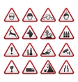 Triangular warning hazard signs set vector