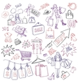 Shopping doodles sale hand drawn style vector