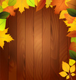 Autumn leaves on a wooden wall vector