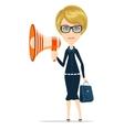 Female messenger negotiator with a loudspeaker vector