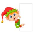 Cute christmas elf cartoon pointing vector