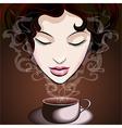 Woman enjoying coffee vector
