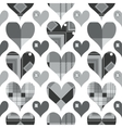 Hearts seamless pattern black and white with grey vector
