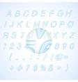 Calligraphic blue watercolor alphabet vector