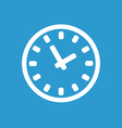 Time icon white on the blue background vector