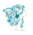 Wavy hairstyle female head for your design vector