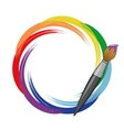 Paint brush rainbow background vector