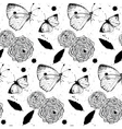 Seamless grunge texture with roses and butterflies vector