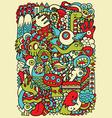 Hipster doodle monster collage background vector