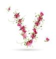 Floral letter v for your design vector