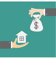 Hands with house and money bag exchanging concept vector