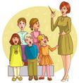Music teacher singing with children chorus vector