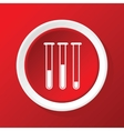 Test tubes icon on red vector