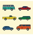 Line style color cars set vector