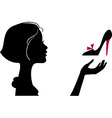 Fashion girl with shoe vector