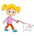 Cute cartoon girl walking with dog vector