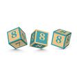 Number 8 wooden alphabet blocks vector