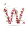 Floral letter w for your design vector