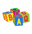 Kids colored cubes with letters vector
