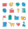 Set of business office flat hand-drawn icons vector
