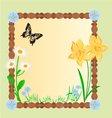 Spring floral background with butterflies vector