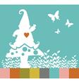 Christmas elf silhouette on a mushroom greeting vector