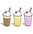 3 milkshake cartoons vector