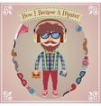 Hipster boy poster vector