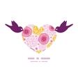 Pink field flowers birds holding heart silhouette vector