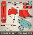 Skateboard set vector